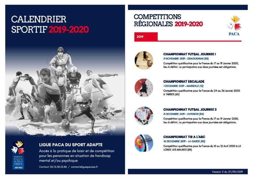 Calendrier Sport 2020.Calendrier Sportif Regional Saison 2019 2020 Ligue Paca